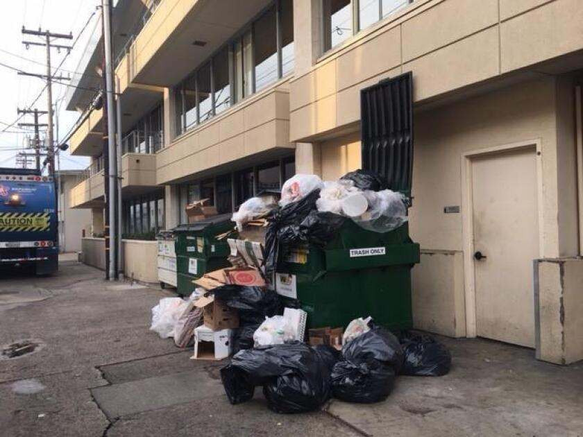 There's got to be a better way: An onion ... every week in the alley at Silverado and Kline streets in La Jolla. Photo submitted by Carol Mills.