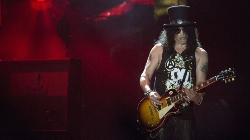 INDIO, CALIF. -- SATURDAY, APRIL 16, 2016: Guns N Roses Slash on stage at the Coachella Valley Musi