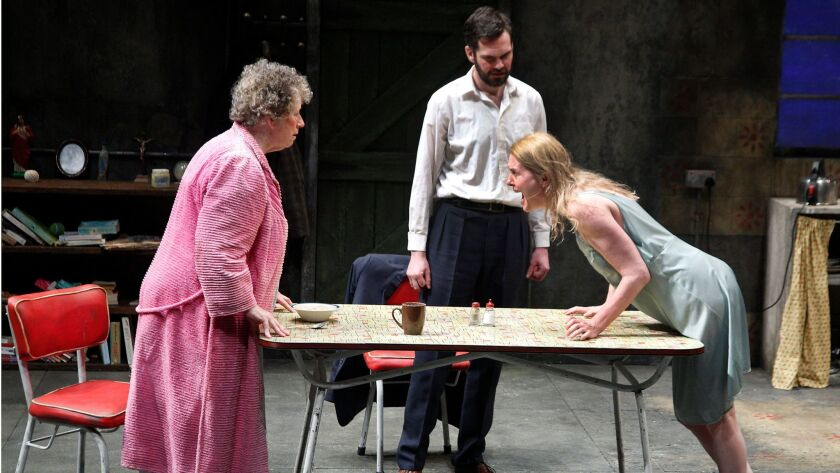 "Marie Mullen, left, Marty Rea and Aisling O'Sullivan in ""The Beauty Queen of Leenane."""