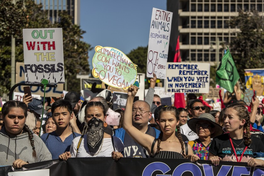 Activists with Youth Climate Strike Los Angeles take to the streets Nov. 1 for a march.