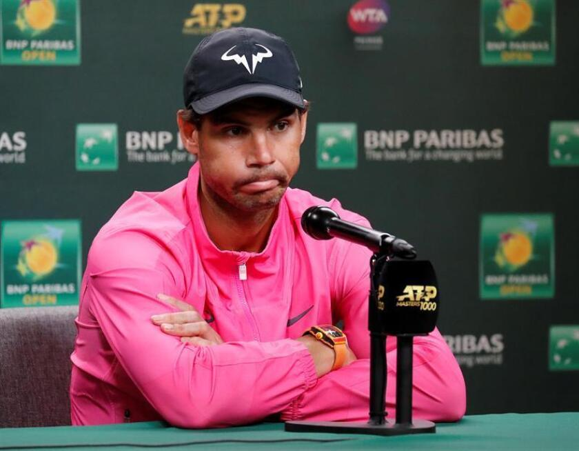 Rafael Nadal of Spain answers questions after withdrawing due to injury from the BNP Paribas Open tennis tournament at the Indian Wells Tennis Garden in Indian Wells, California, USA, on March 16, 2019. He withdrew shortly before his scheduled semifinal match against arch-rival Roger Federer of Switzerland. EPA-EFE/JOHN G. MABANGLO