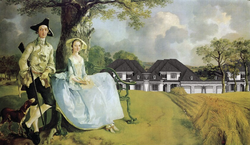 "Keith Krumwiede's ""Mr. and Mrs. Andrews of Shadrach Woods, Freedomland,"" after ""Mr. and Mrs. Andrews,"" 1749, by Thomas Gainsborough."
