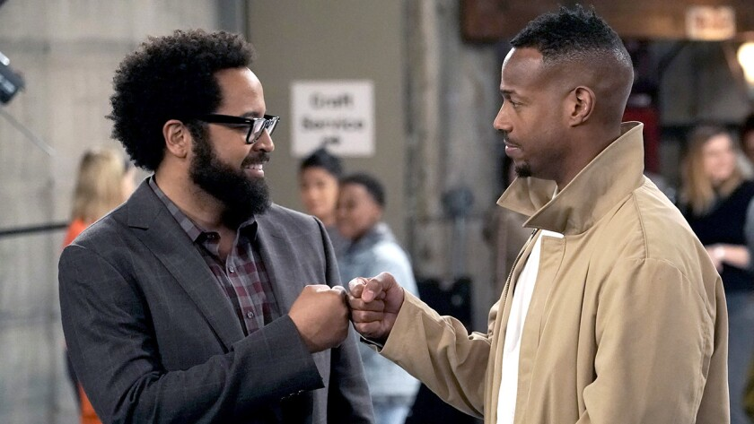 "Diallo Riddle, left, and Marlon Wayans in ""Marlon"" on NBC."