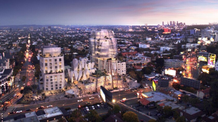A rendering of a proposed mixed-use development designed by architect Frank Gehry at 8150 Sunset Blv