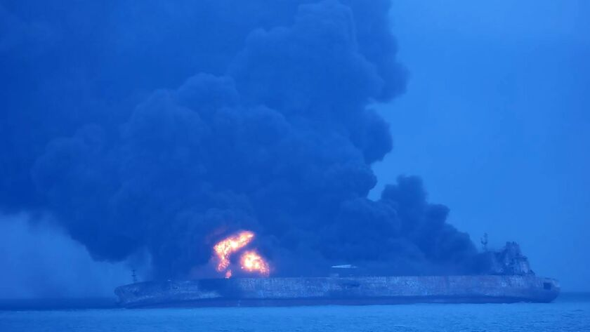 The Panamanian-flagged tanker Sanchi ablaze after colliding with a freighter off China.