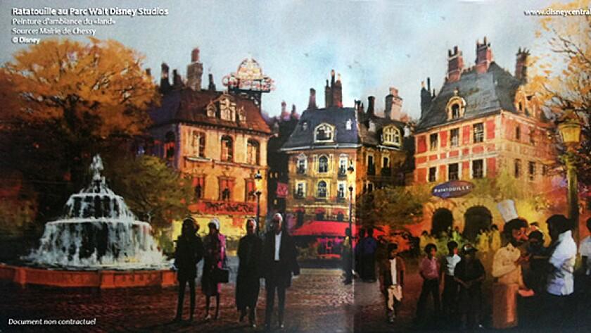 Artist rendering of Ratatouille Kitchen Calamity attraction planned for the Disneyland Paris resort.