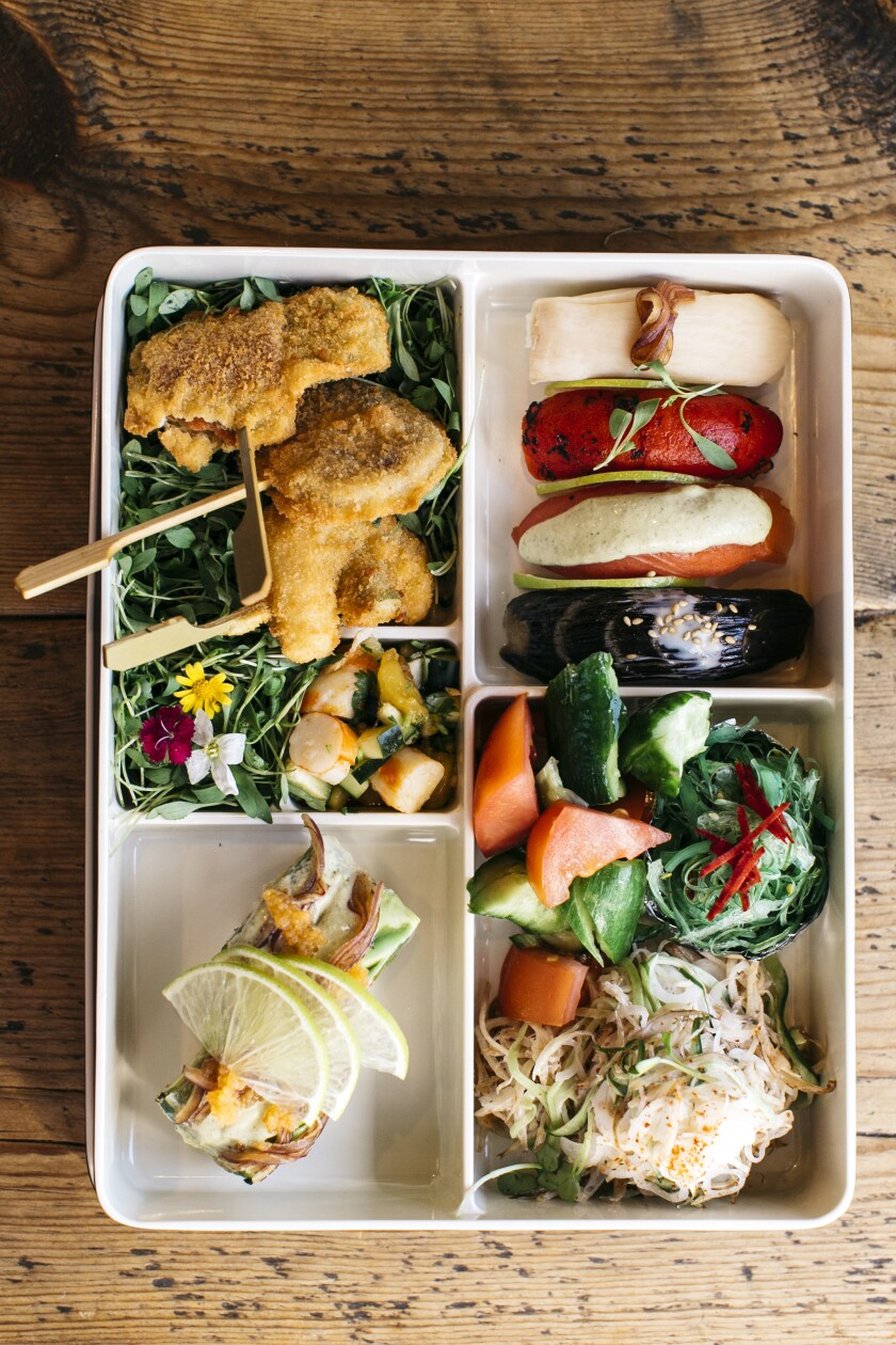 A selection of plant-based dishes at The Yasai, San Diego's first vegan Japanese restaurant, opening Nov. 15 on Convoy Street in San Diego.