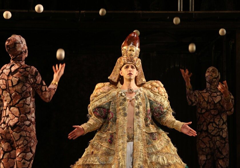 "Anthony Roth Costanzo in Los Angeles Opera's production of Philip Glass' ""Akhnaten."""