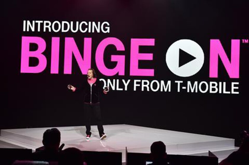 T-Mobile CEO John Legere introduces Binge On during a news conference at the Shrine Auditorium in Los Angeles in November.