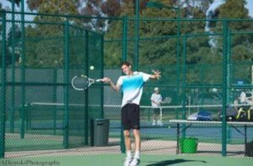 Senior Gabriel Pamich hits forehand. Courtesy
