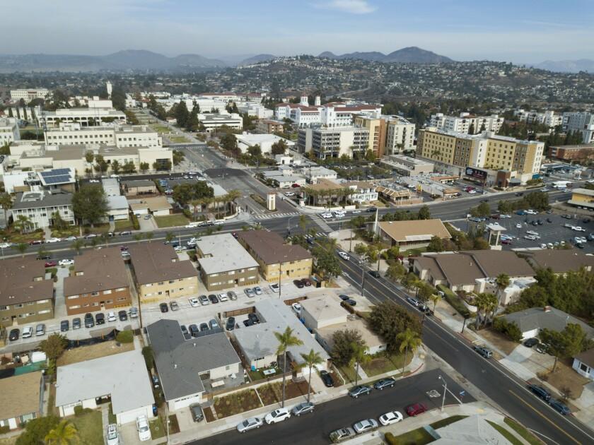Neighborhoods surround San Diego State University, centered here  at Campanile Drive and Montezuma Road.