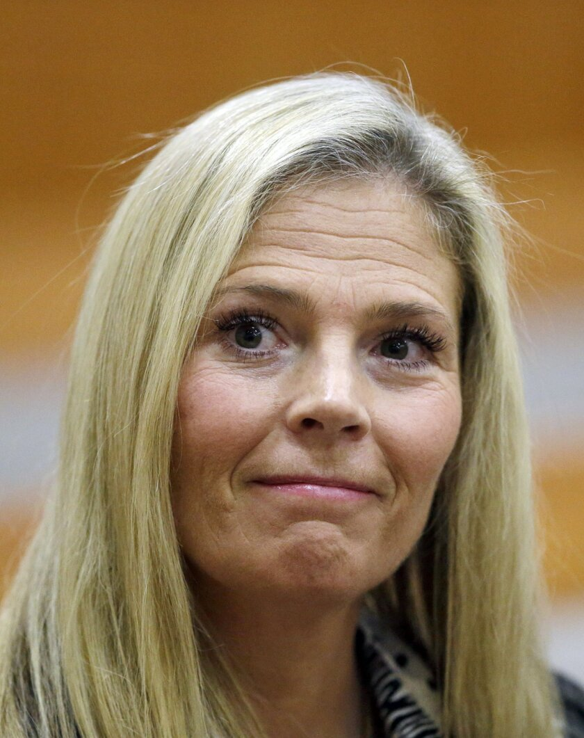 Olympic gold-medal skier Picabo Street looks on in the court, Tuesday, Feb. 16, 2016, in Park City, Utah. Street appeared in court Tuesday on misdemeanor domestic violence and assault charges. Street is accused of throwing her 76-year-old father down stairs and locking him in a basement during a fi