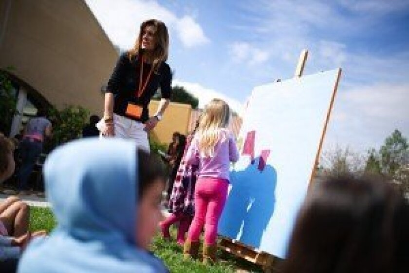 "Solana Beach artist Judy Moffson at the ""A is for Art"" program at San Diego State University. Photo by Dmitiri Diakov."