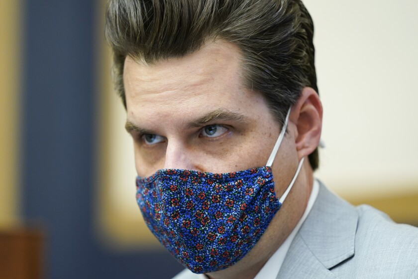 Rep. Matt Gaetz, R-Fla., attends a House Judiciary committee hearing at the Capitol in Washington, Wednesday, April 14, 2021. Before Gaetz rose to national prominence as an ardent backer of Donald Trump, he carved out an unusual reputation in Florida: a Republican lawmaker who wanted to liberalize marijuana laws. (AP Photo/J. Scott Applewhite, File)