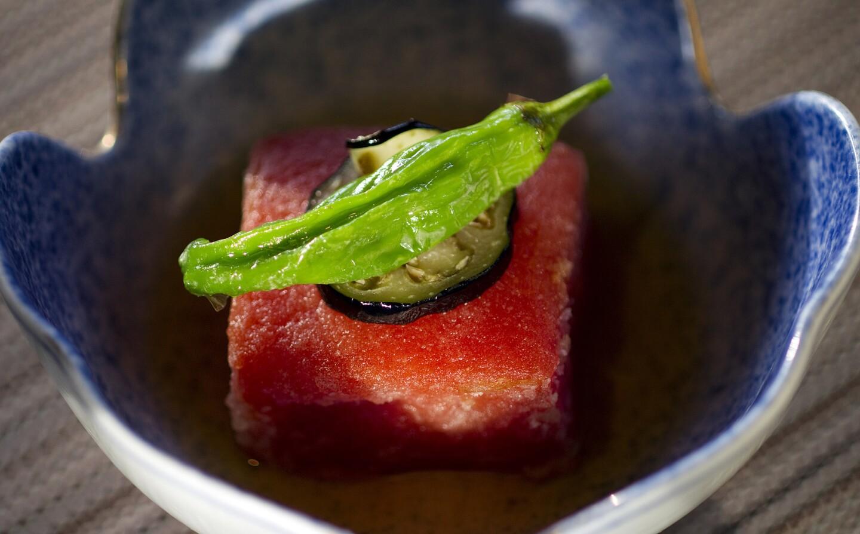 This is agedashi momotaro tomato tofu at Shunji restaurant in Los Angeles.