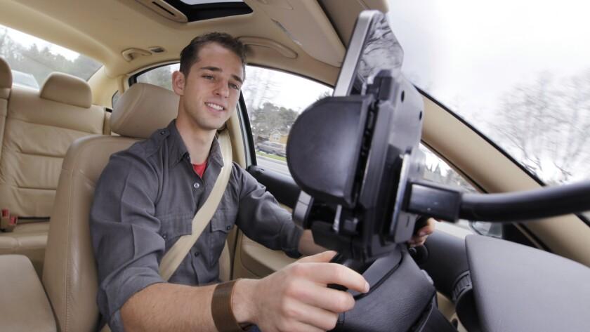 A Waze user navigates the city streets.