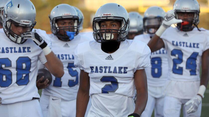 Eastlake's Jalyn Jackson with teammates prior to kickoff.