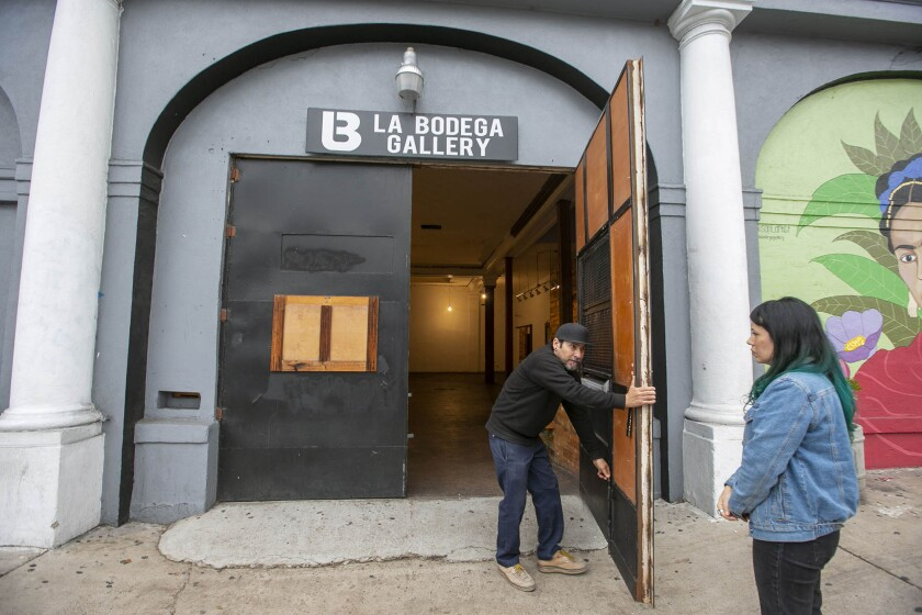 La Bodega Gallery owners Soni-Lopez Chavez and Chris Zertuche spent the holidays packing and moving everything out of the space on Logan Avenue and into their new building, which they will lease for five years with an option to extend the lease. They were photographed on Tuesday, Decemrber 3, 2019.