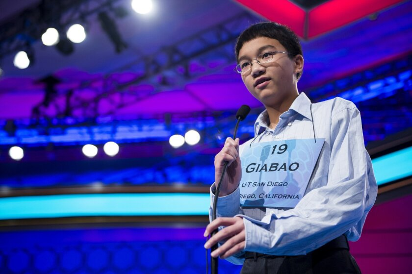 Speller No. 019, Giabao Tonthat, 13, eighth grader at Heritage K-8 Charter School, Escondido, California, competes in the preliminary rounds of the Scripps National Spelling Bee at the Gaylord National Resort and Convention Center in National Habor, Md., on Wednesday, May 29, 2013. Photo by Bill Cl
