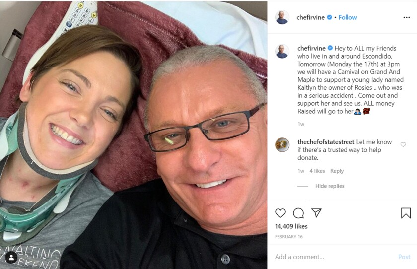"""""""Restaurant: Impossible"""" host/chef Robert Irvine, right, posted this selfie with Rosie's Diner owner Kaitlyn Pilsbury on his Instagram account on Feb. 16. He was in Escondido last week to host a fundraiser for Pilsbury, who was seriously injured in a hit-and-run accident, 11 months after her restaurant was made over on his Food Network series in January 2019."""