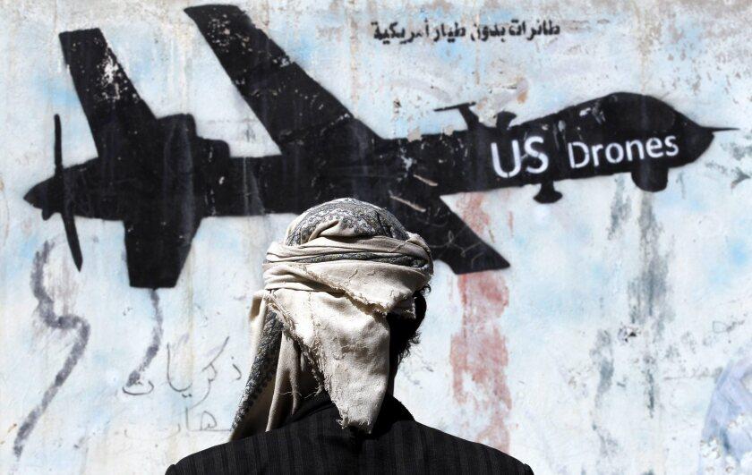 Graffiti in Sana'a protesting US military operations