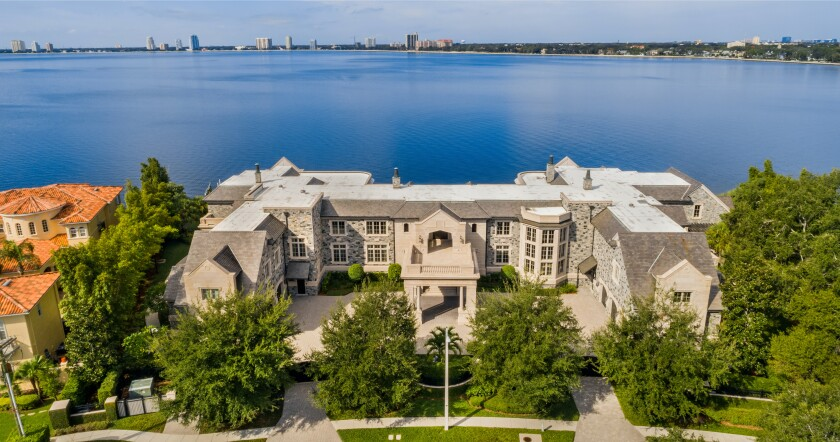 The 22,000-square-foot Florida mansion overlooks Tampa Bay.