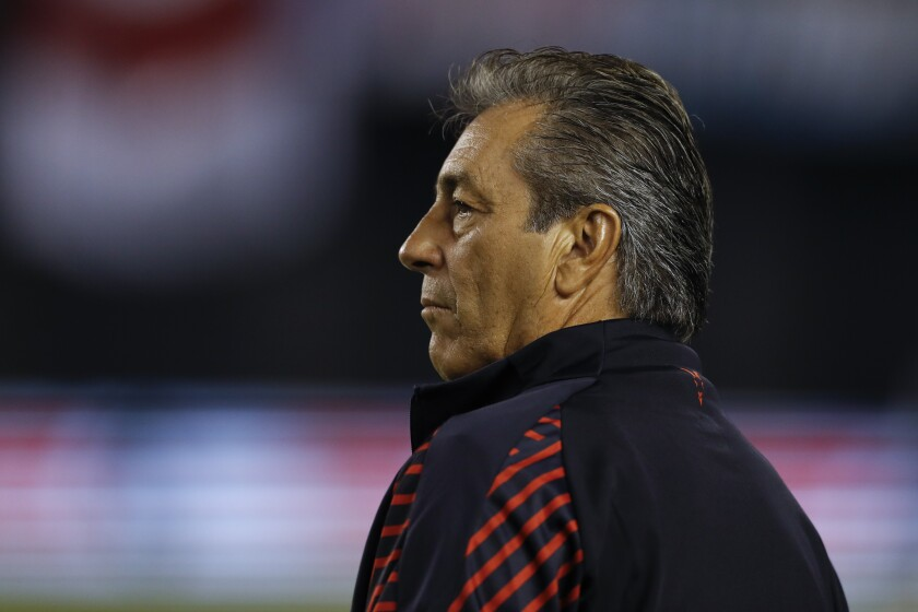 Chivas head coach Tomas Boy looks on before a Colossus Cup soccer match against River Plate Friday, June 28, 2019, in San Diego. (AP Photo/Gregory Bull)