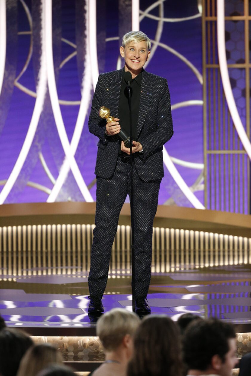 Ellen DeGeneres accepts the Carol Burnett Award for outstanding contributions to television at the 77th Annual Golden Globe Awards.
