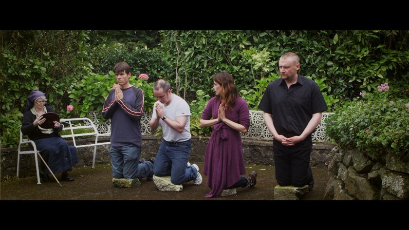 """(L-R)- Owen Dara, Sean McNally, Jessica Lancaster and Stephen Wyley in a scene from """"The Holy Fail."""""""