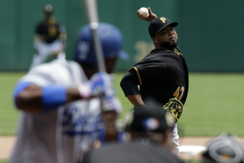 Pittsburgh Pirates starting pitcher Francisco Liriano delivers to Los Angeles Dodgers' Yasiel Puig in the fifth inning of a baseball game in Pittsburgh, Monday, June 27, 2016. The Dodgers won 5-4. (AP Photo/Gene J. Puskar)