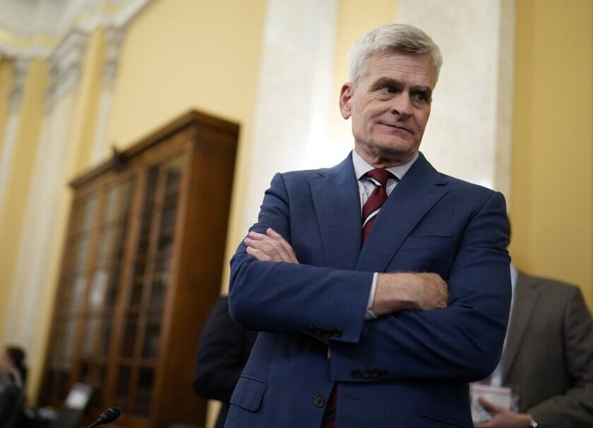 Sen. Bill Cassidy, R-La., attends a Senate Veterans' Affairs Committee hearing on improving the VA's infrastructure, at the Capitol in Washington, Wednesday, June 9, 2021. Since President Joe Biden ended talks with a group of Republican senators on his infrastructure agenda this week, he has reached out to other senators from both parties, including Sen. Cassidy, in a new effort toward bipartisan compromise. (AP Photo/J. Scott Applewhite)