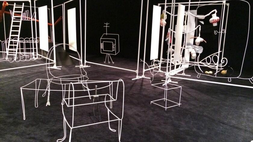 "Installation view of John Bock's ""Three Sisters"""