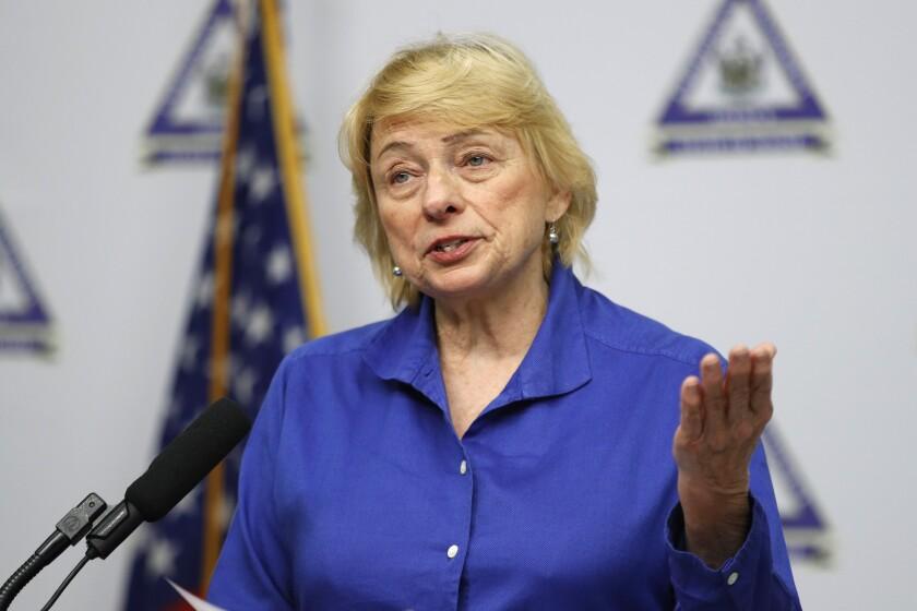 Maine Gov. Janet Mills speaks at an April 28 news conference.