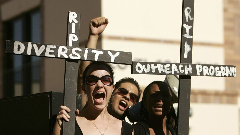 UCLA students rally to express their concerns about the lack of racial diversity in the student body on November 15, 2006.