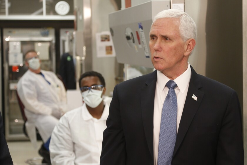 Vice President Mike Pence at a molecular testing lab at the Mayo Clinic last week.