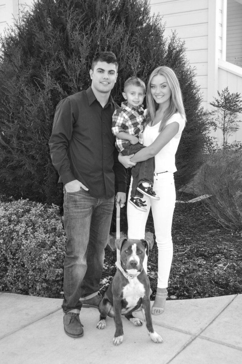 Jake Rodrigues, his son Brody, and his fiance, Alexandra Abercrombie, in a recent family photo.