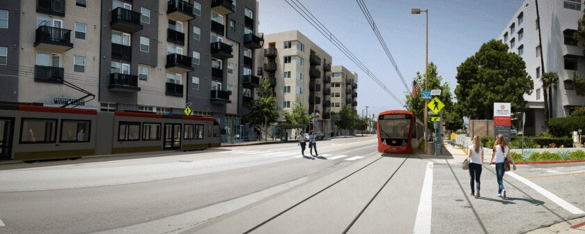Potential Glendale streetcar configuration at Central Avenue and Laurel Street is pictured in a rendering. The streetcar, currently in a feasibility study, would initially connect Glendale's downtown area to its transporation center.