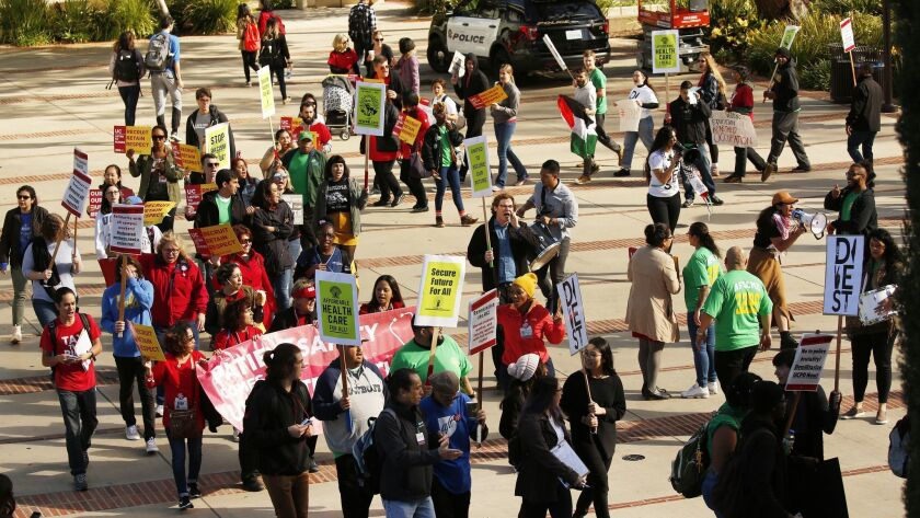 """LOS ANGELES, CA - MARCH 14, 2018 - Students from all 10 University of California campuses march to """""""