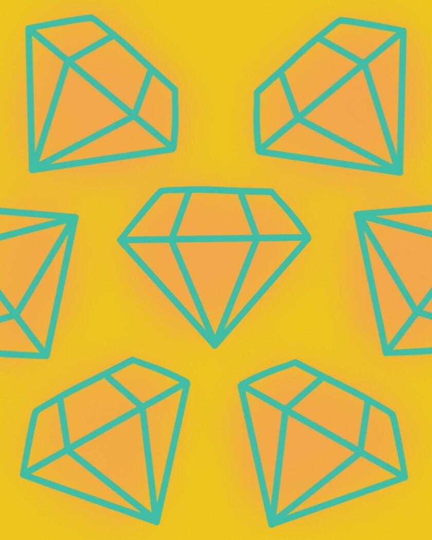An illustration of geometric gemstones