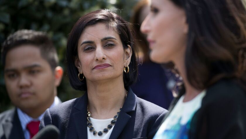 Seema Verma, the Trump official in charge of Medicaid, Medicare and Obamacare, at an event at the White House in 2017.