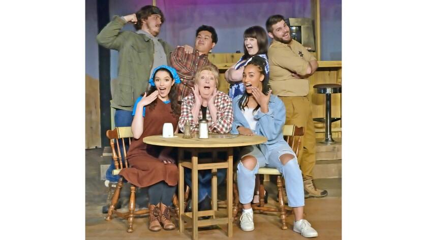 Actors (back to front) Dylan Bogga, Abraham Arias, Marykate Vadala, Simon Hedrick, Rebecca Jordan, G