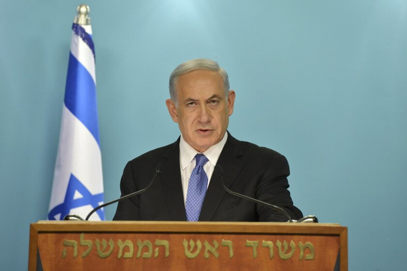 """In this photo released by the Government Press Office, Israeli Prime Minister Benjamin Netanyahu delivers a statement to the press in Jerusalem, Friday, April 3, 2015. Netanyahu said that he and his Cabinet are united in """"strongly opposing"""" a framework deal on curbing Iran's nuclear program. Iran and six world powers announced a set of understandings on such a framework on Thursday. They face a June 30 deadline for a final deal. (AP Photo/Kobi Gideon, GPO) ISRAEL OUT"""