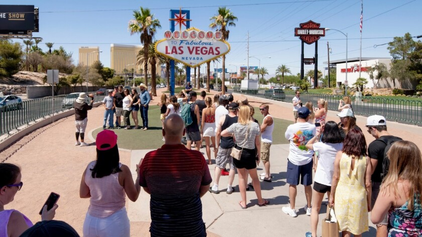 "Scene at the ""Welcome to Fabulous Las Vegas"" sign on Friday, June 22, 2018. (Mark Damon/Las Vegas N"