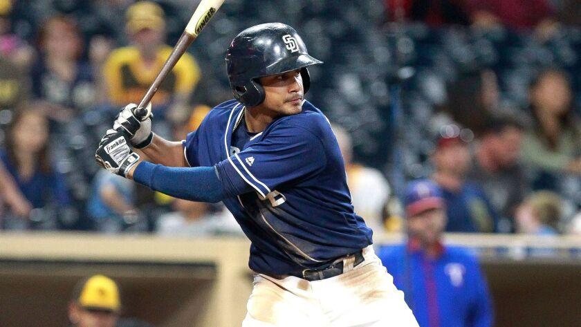 Padres prospect Fernando Tatis Jr. at bat in game against Texas Rangers prospects during the Padres Futures Game at Petco Park on Friday, Oct. 7, 2016.