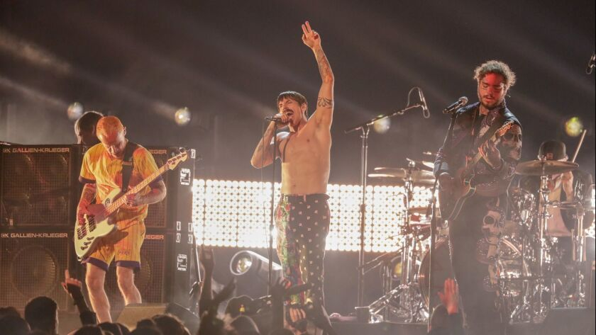 LOS ANGELES, CA - February 10, 2019 (L-R) Flea and Anthony Kiedis of Red Hot Chili Peppers perform w