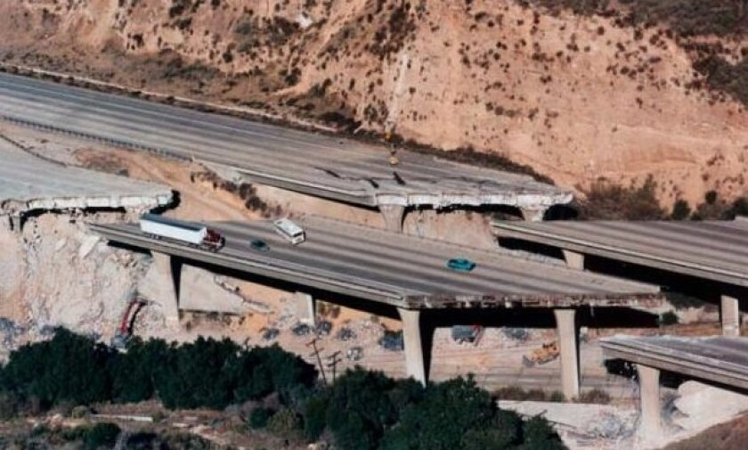 The Northridge earthquake collapsed parts of the I-5 Freeway at Gavin Canyon.