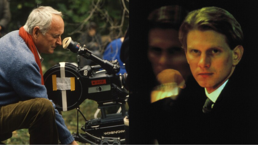 Director James Ivory, left, on the set; actor James Wilby plays the title character in the 1987 film