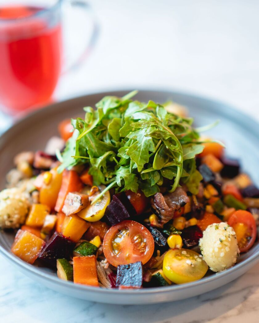 The grilled vegetable bowl at Parakeet Café at One Paseo in Del Mar.