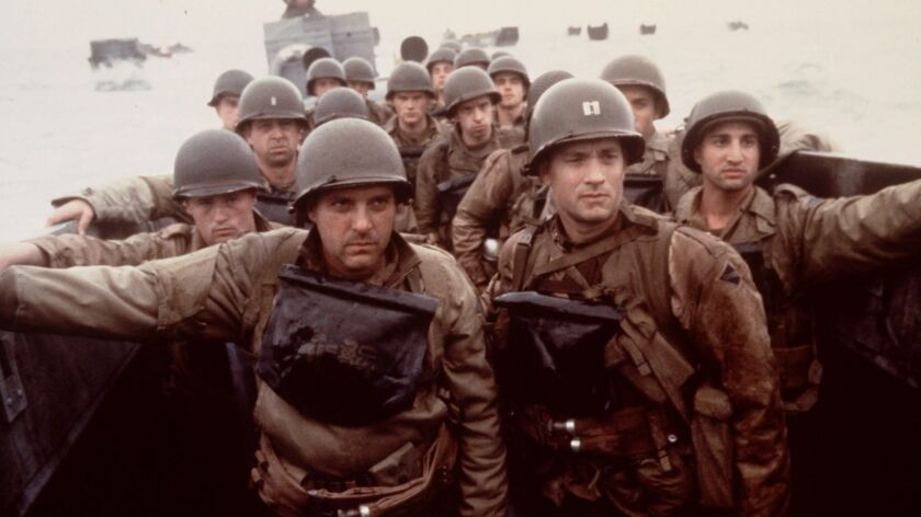 """Tom Hanks, right, and Tom Sizemore, left, appear in a scene from the movie """"Saving Private Ryan."""""""