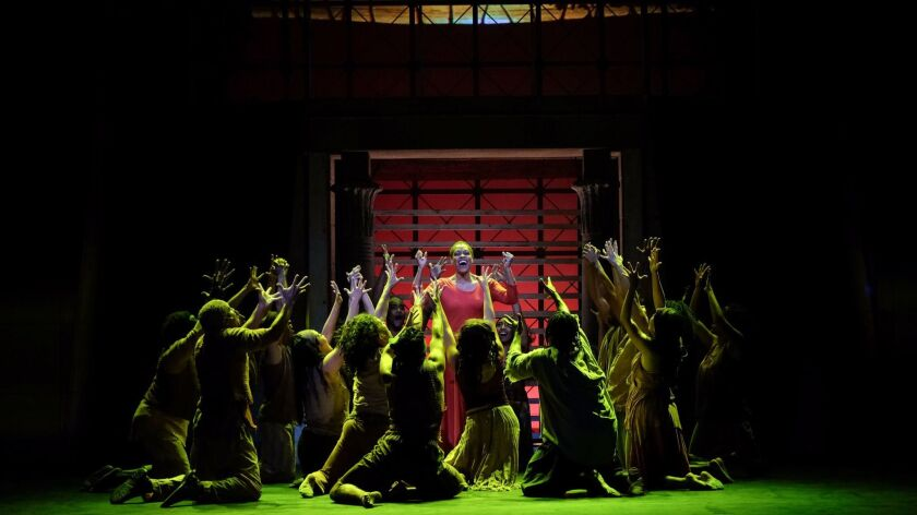 """Daebreon Poiema, center, as Aida with the company in Moonlight Stage Productions """"Aida"""" at the Moonl"""